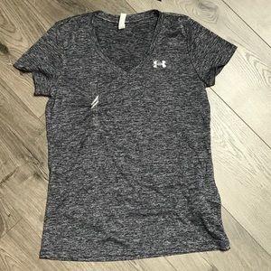 Under Armour Grey/Blue Marled Shirt Size S NWT